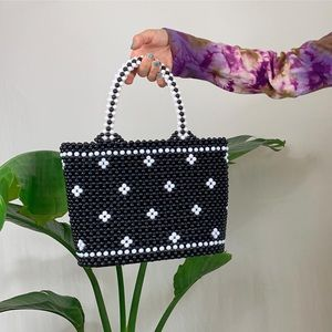 Handbags - Vintage Black White Beaded Handbag
